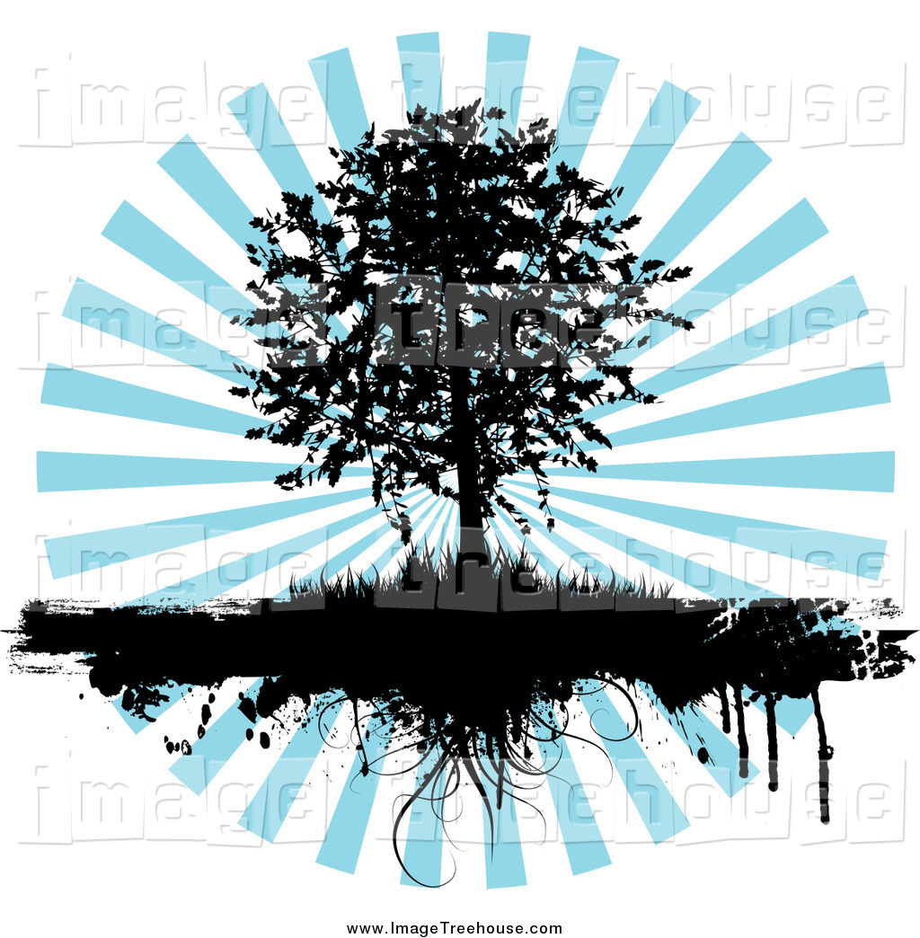 Clipart of a Black Silhouetted Tree and Grasses Dripping over a.