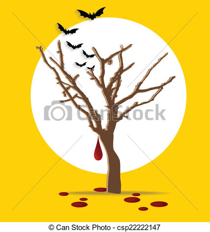 EPS Vector of Halloween background. Tree with blood dripping.