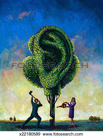 Stock Illustration of Man & Woman with Ear Tree x22180589.