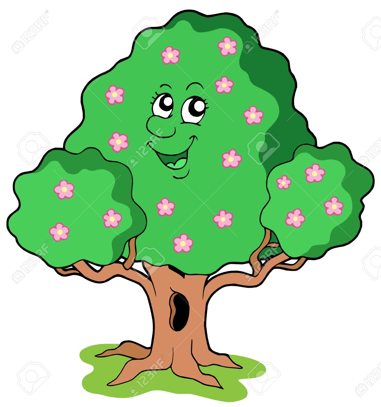 Smiling tree clipart.