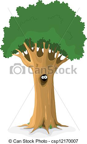 Vector Clipart of Owl Or Animal Eyes In Tree Hollow.