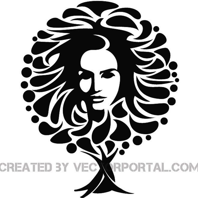 GIRL FACE AND THE TREE VECTOR IMAGE.