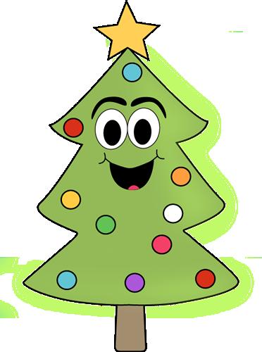 HAPPY CHRISTMAS TREE CLIP ART.