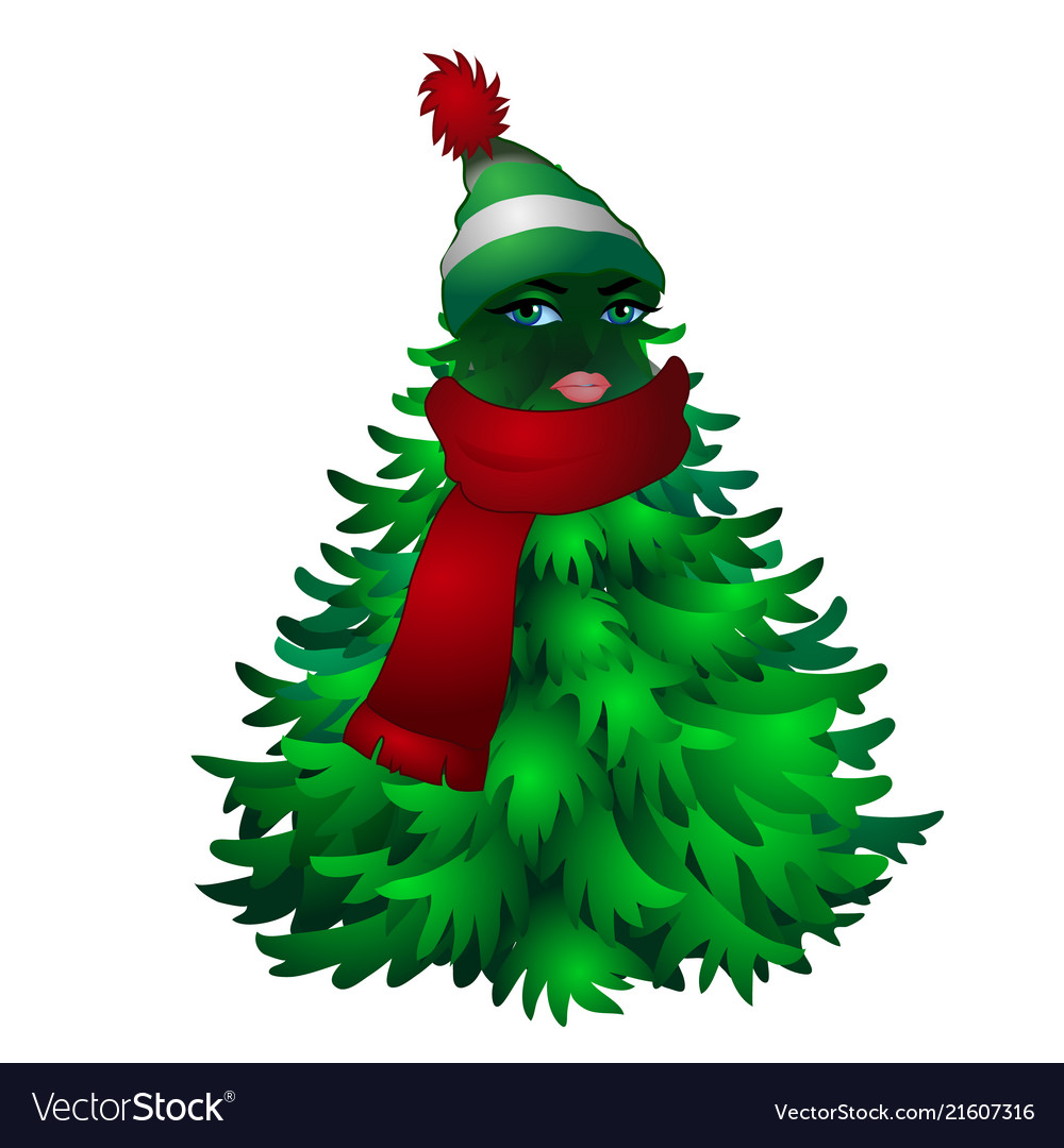 Christmas tree with woman face and striped hat.