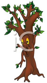 Royalty Free Clipart Image: Animated Cartoon Tree with a Face.
