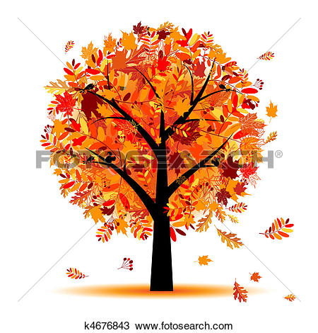 Clipart of Maple tree, autumn leaf fall k3193411.