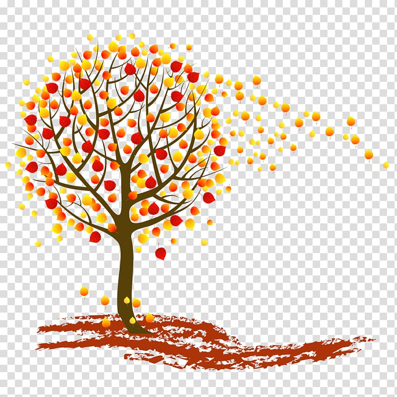 Tree Autumn , autumn leaves falling transparent background.