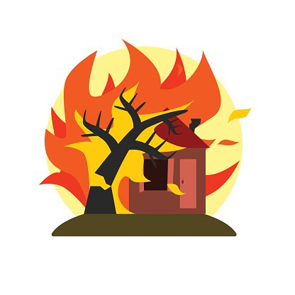 Burning Tree Falling On House Natural Force Sticker Clipart.