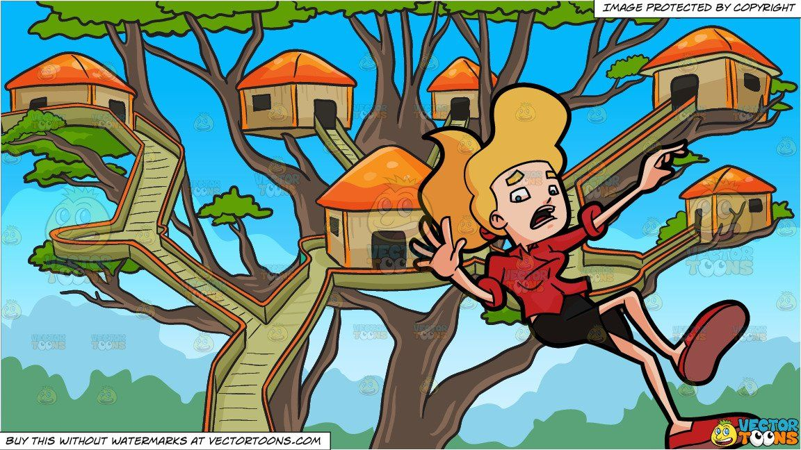 clipart #cartoon A Woman In Panic While Falling Down and A.