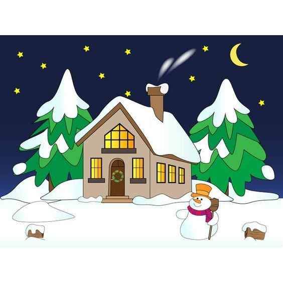 Vector snowman with house winter scene snow falling night.