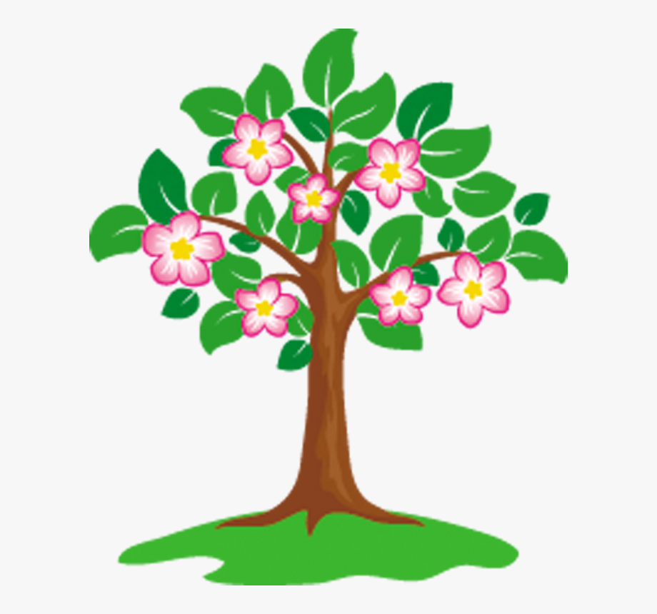 Tree With Fruits And Flowers Clipart , Transparent Cartoon.