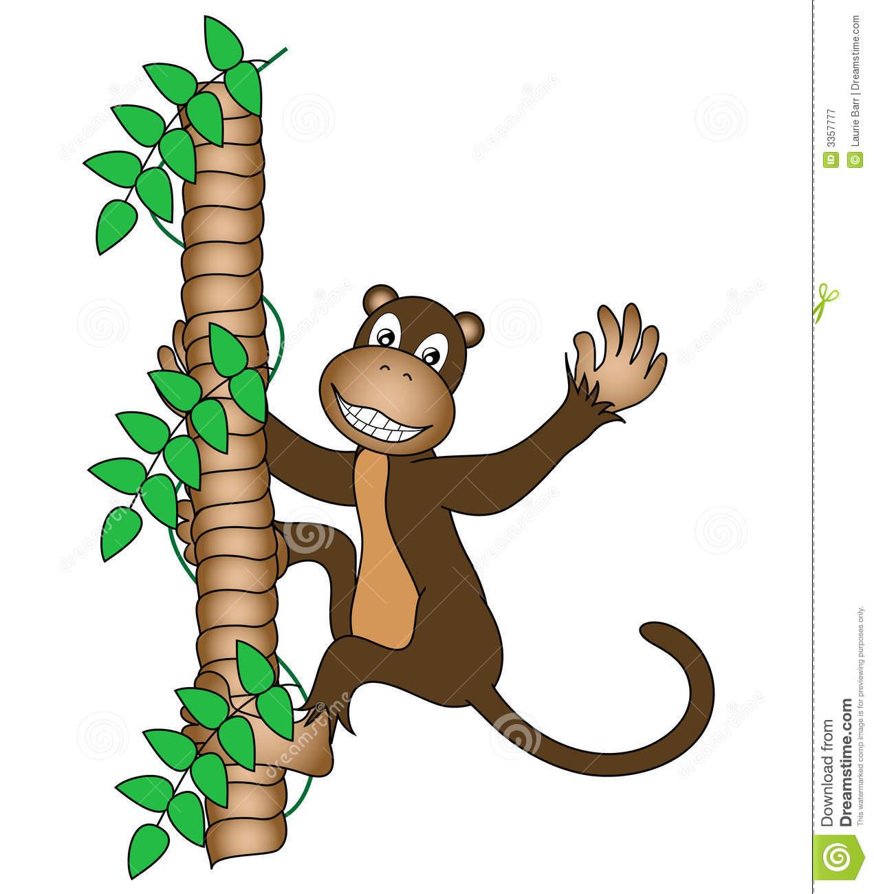 Monkey Climbing Tree Clipart.