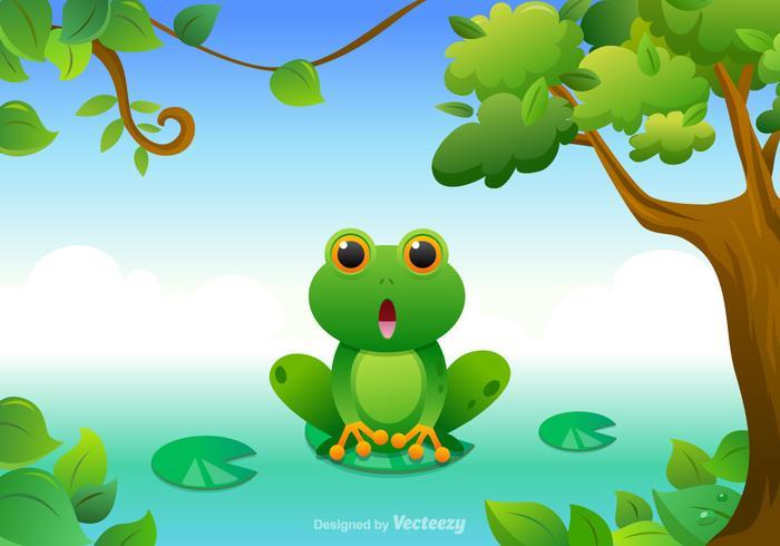 Free Cartoon Green Tree Frog Vector.