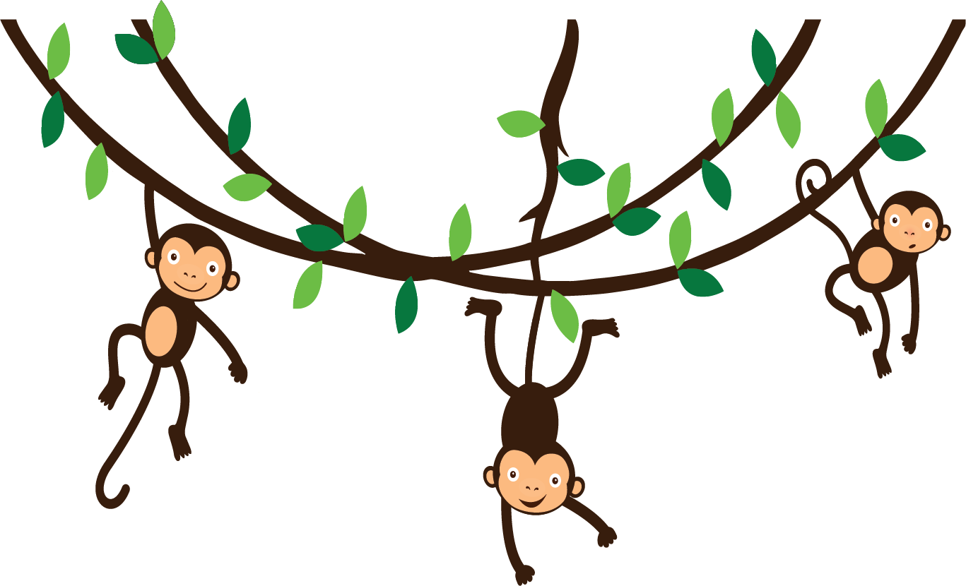 Collection Of Monkey Hanging From Tree.