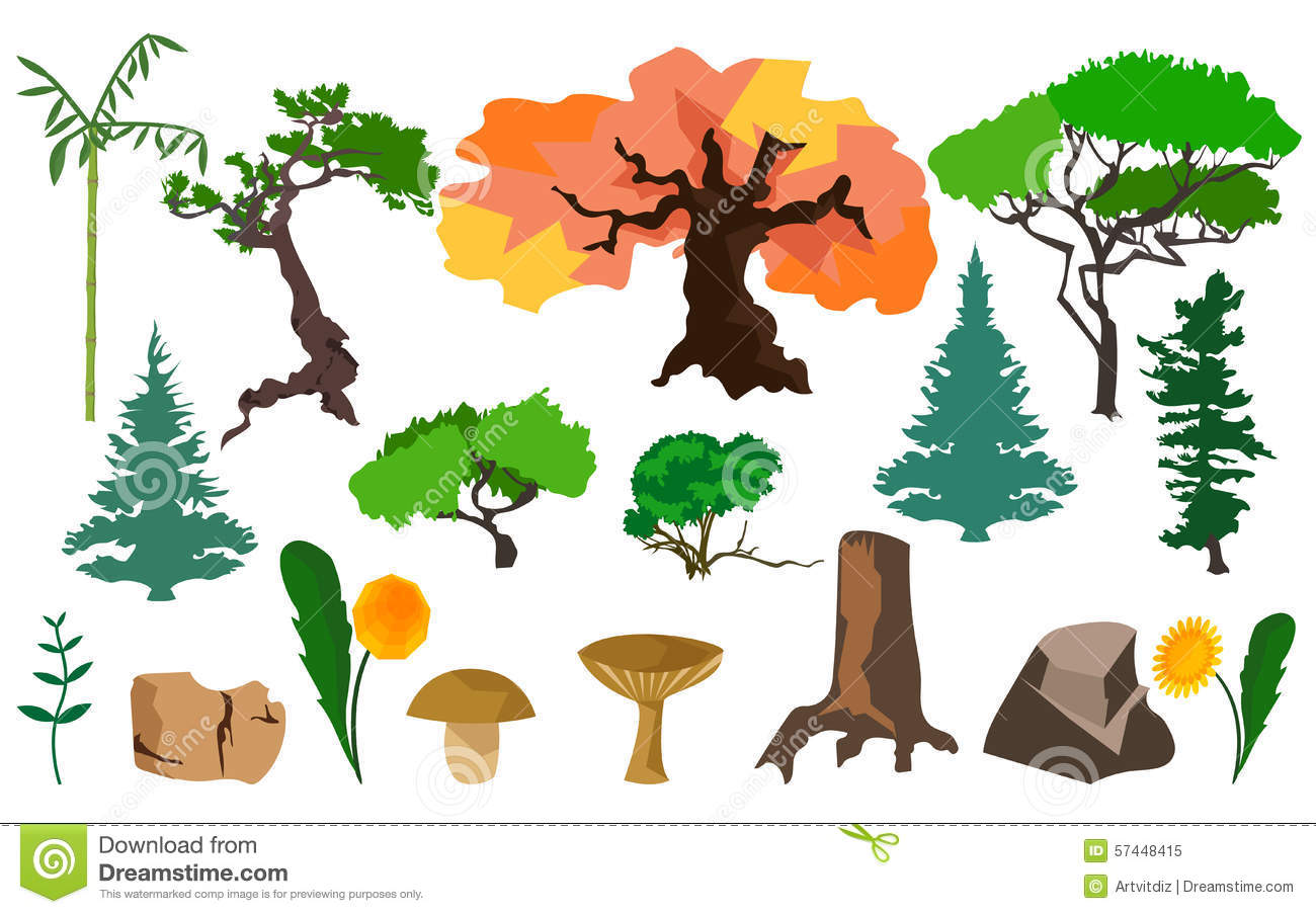 Set Plants Trees, Fungi And Stones Stock Vector.