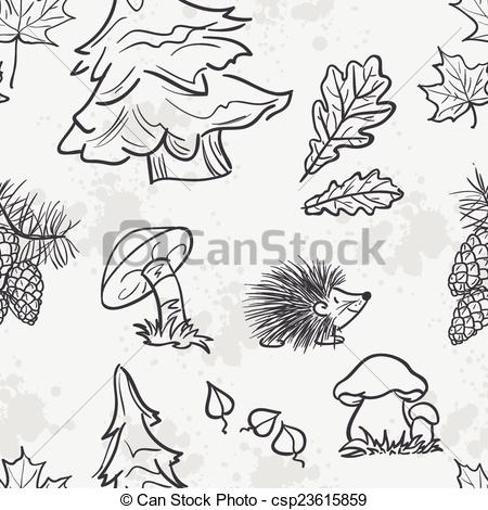 Clipart Vector of Seamless texture with the image of funny little.