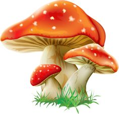 Toadstool Clipart Image: Spotted green toadstool or mushroom.