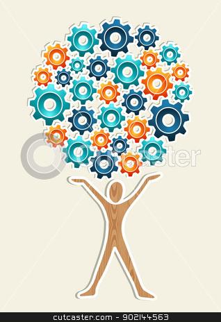 Man gear machine concept tree stock vector.