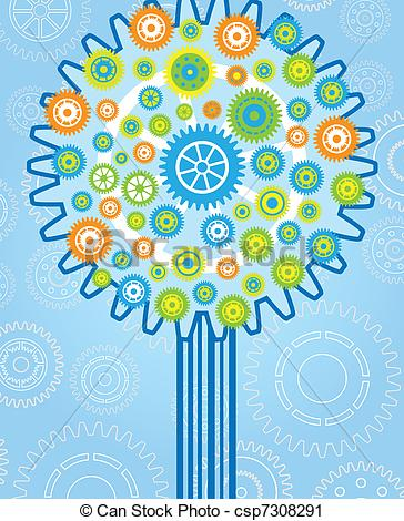 Vector Clip Art of tree gear process image vector csp7308291.