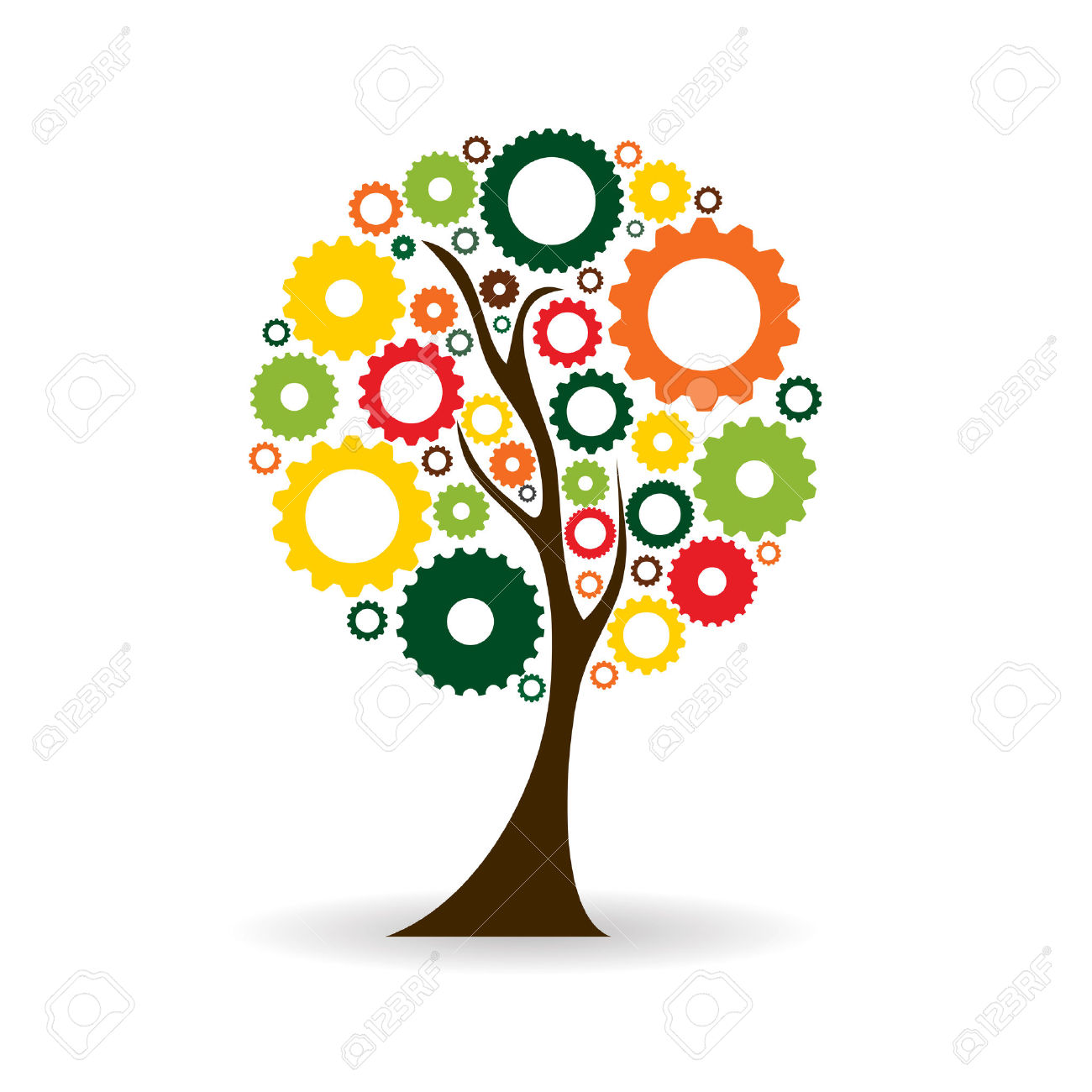 Gear Icon Tree Sign Vector Illustration EPS10 Royalty Free.