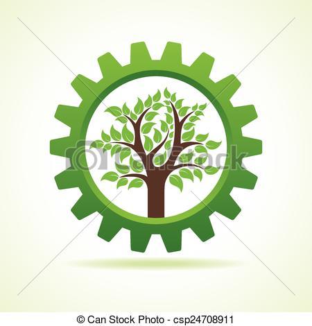 Vector Clip Art of Tree inside the gear.