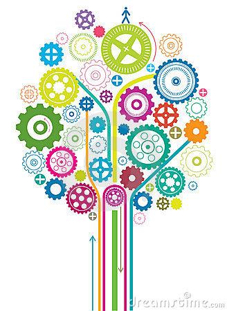 Gear Tree Stock Vector.