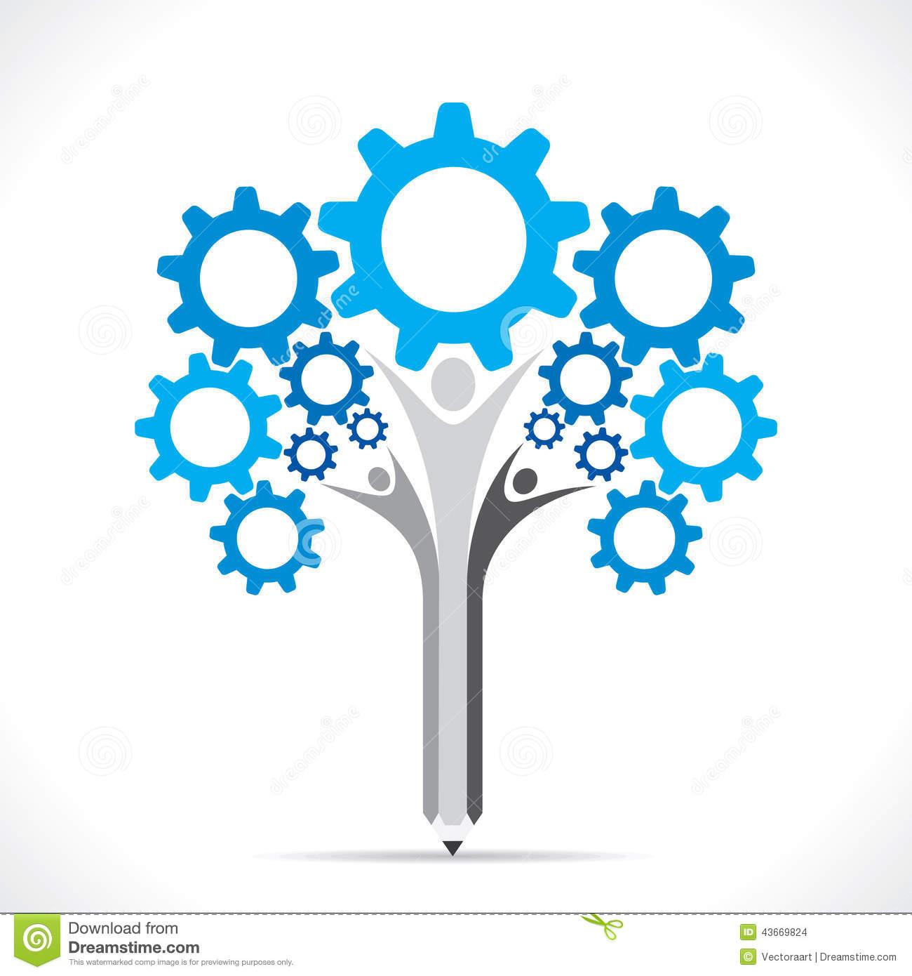 Creative Gear Pencil Tree Design Concept Stock Vector.