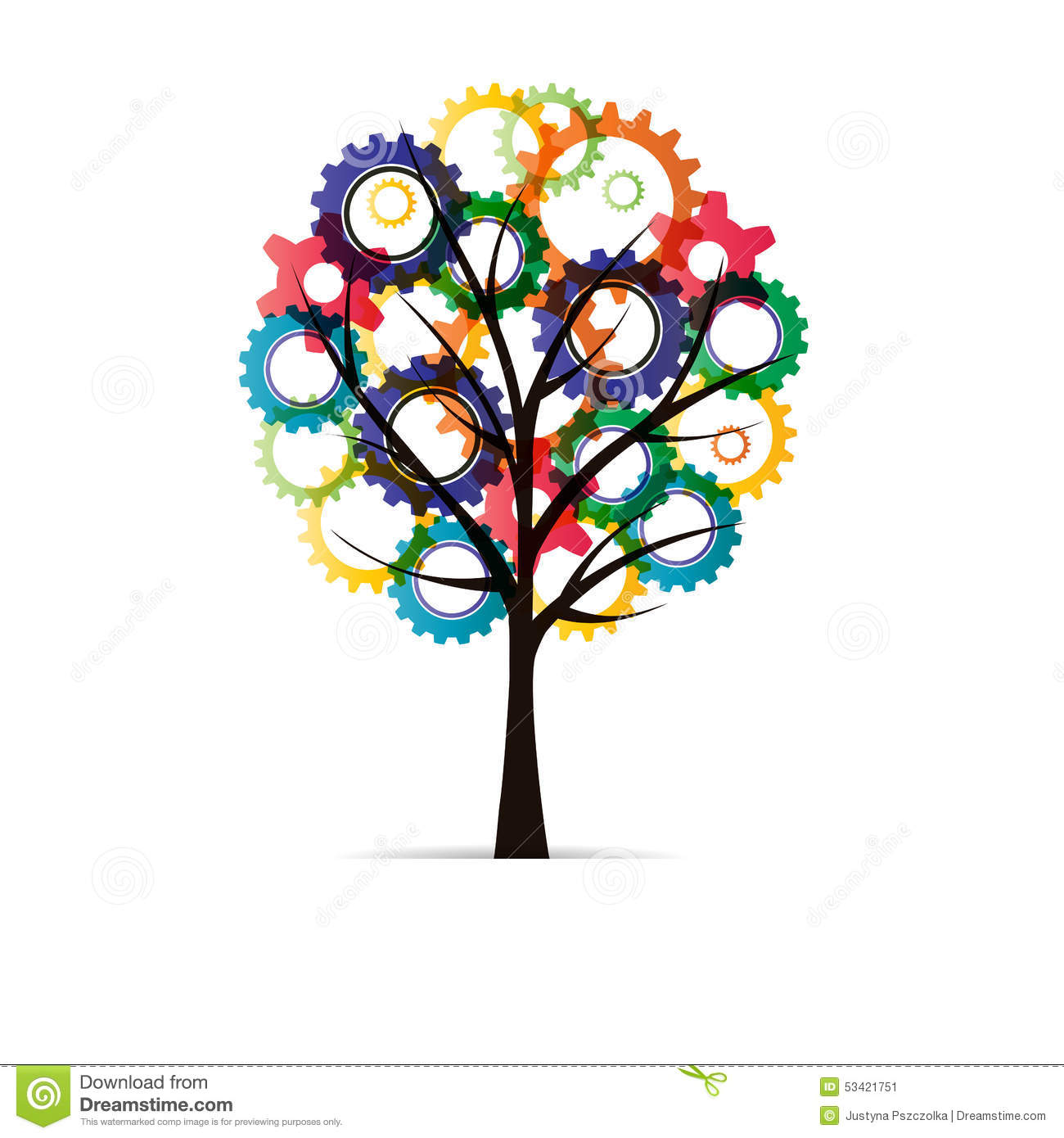 Tree With Gear Stock Illustration.