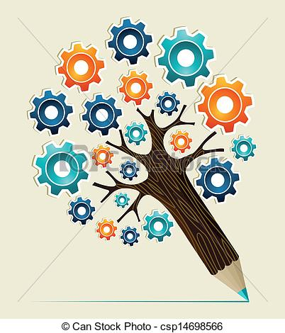 Clip Art Vector of Gear wheel concept pencil tree.