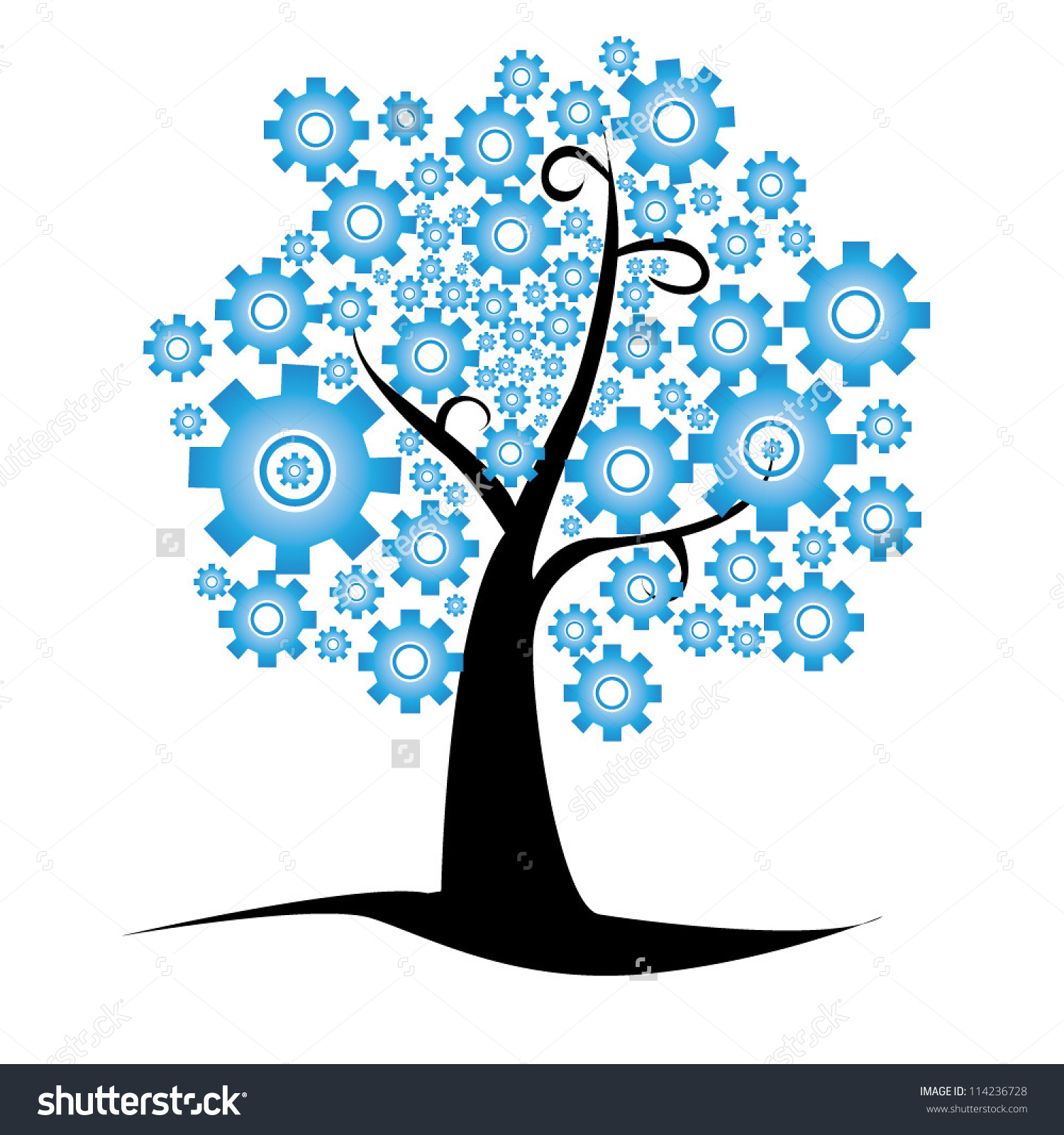 Gear Tree Background Stock Vector 114236728.