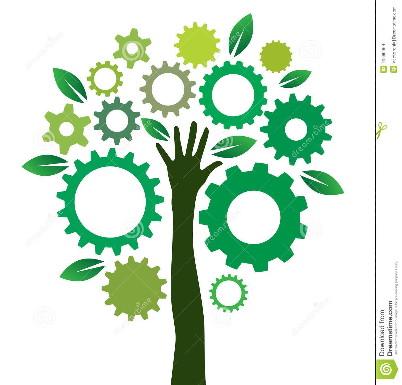 Solution Gears Tree Stock Vector.