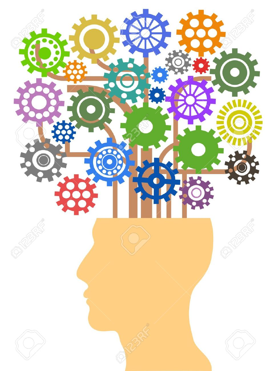 The Concept Of Head With Gear Tree Royalty Free Cliparts, Vectors.