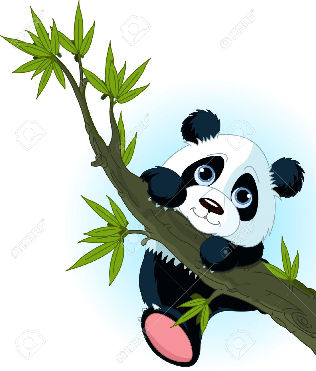 Very Cute Giant Panda Climbing Tree Royalty Free Cliparts, Vectors.