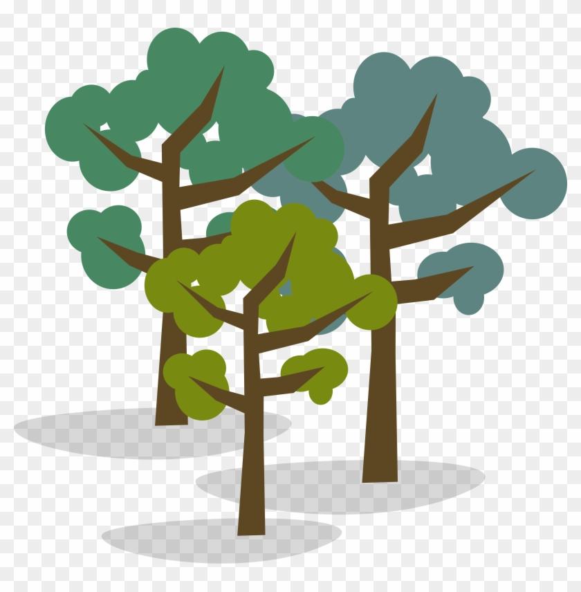 Illustration Of Group Of Three Trees.