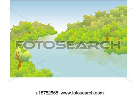 Stock Illustration of tree, nature, water, natural phenomena.