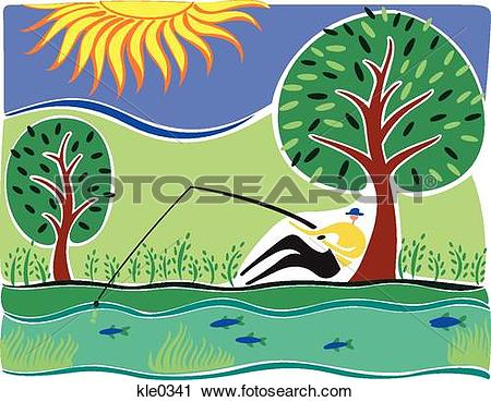 Clipart of A man fishing in a river under a tree kle0341.