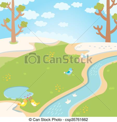 Clip Art Vector of Natural green grass spring background with.