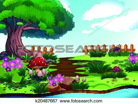 Clip Art of A big tree near the river k20487667.