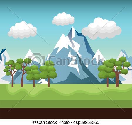 Clip Art Vector of landscape mountain green river design vector.