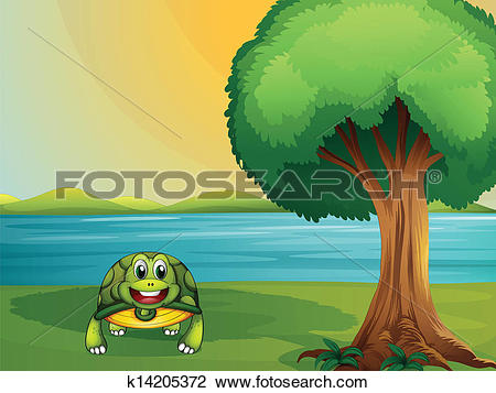 Clipart of A turtle beside a tree at the river k14205372.