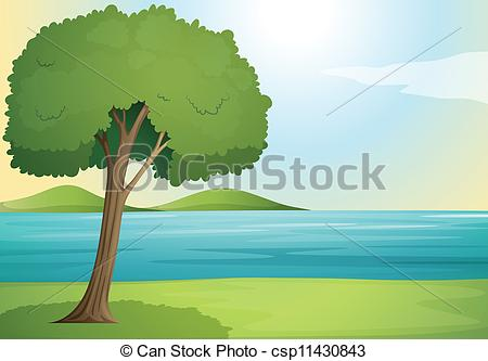 EPS Vector of tree and river.
