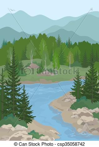 EPS Vector of Landscape with Trees and Mountain River.