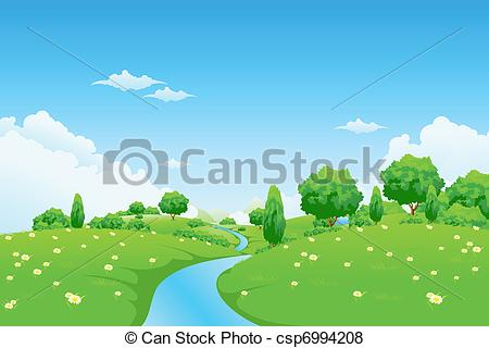 Vector of Green Landscape with river trees and flowers for your.