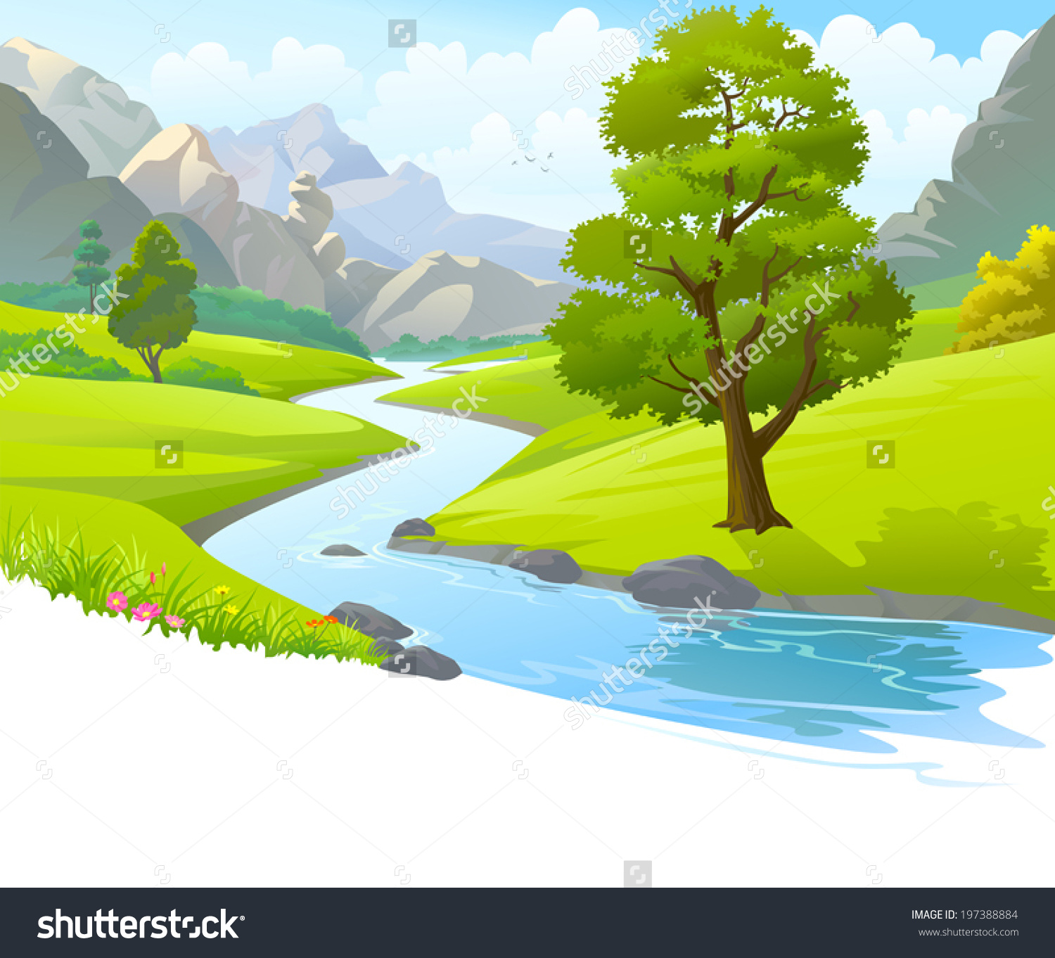 Illustration River Flowing Through Mountains Hills Stock Vector.