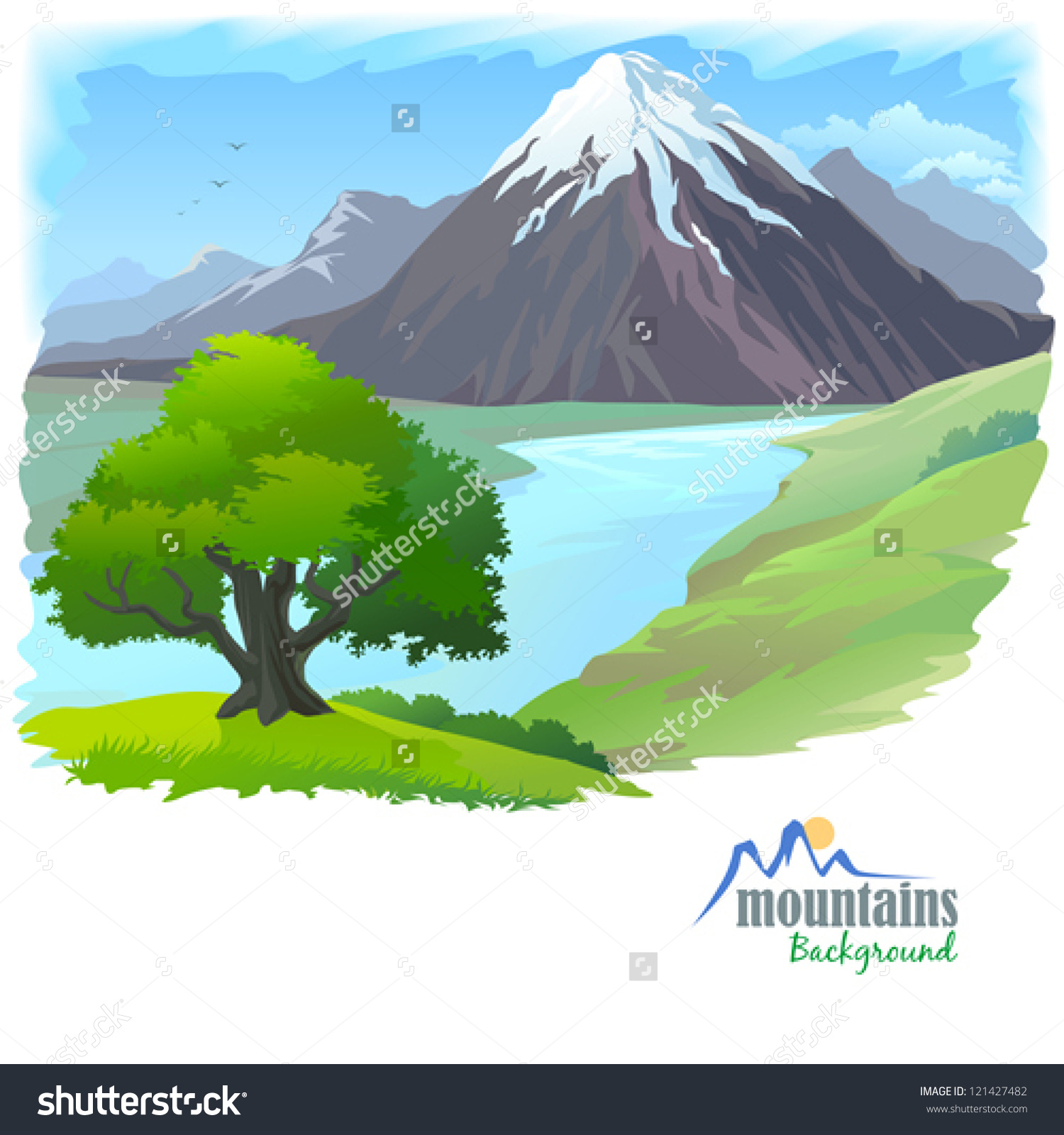 Snow Mountain River Lonely Tree Stock Vector 121427482.