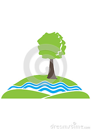 Tree By River Clipart.