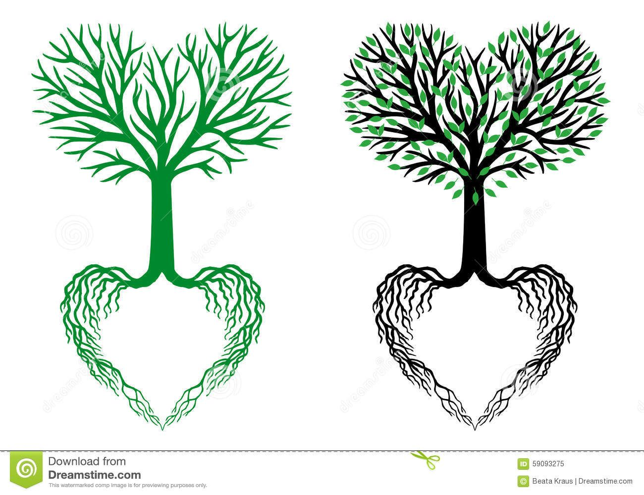 Tree Of Life, Heart Tree, Vector Stock Vector.