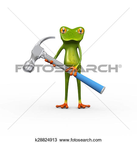 Drawing of 3d frog holding hammer k28824913.