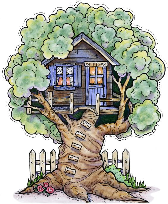 A tree house clipart.