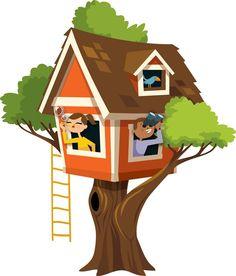 Kids tree house clipart.